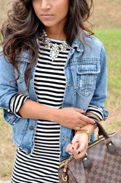 Stripe dress|denim jacket|statement necklace