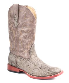 7bc68a15623 Silver   Pink Snakeskin Square Toe Cowboy Boot - Women