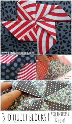 3 dimensional - this is such a great idea! Love the little pockets and flaps. Would be fun to make a baby quilt with these.