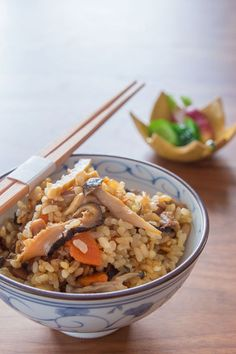 Gomoku Gohan is a rice dish featuring a flavorful broth and seasonal ingredients. It is the Japanese version of rice pilaf.