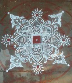 Rangoli Kolam Designs, Kolam Rangoli, Padi Kolam, Beautiful Rangoli Designs, Floor Art, Simple Rangoli, Mandala, Projects To Try, Traditional