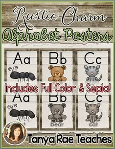 """This adorable set of Alphabet Posters is sure to add some rustic charm to your classroom this year!Posters are 8.5"""" x 11"""" and come in two different color options: full color & sepia.Please see download preview for a peek at every poster in the set!I've included the following images for each letter:Aa - antBb - bearCc - catDd - duckEe - elephantFf - fishGg - grapesHh - houseIi - iglooJj - jarKk - keyLl - leafMm - mittenNn - nestOo - octopusPp - pearQq - quarter & question mark (each on..."""