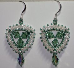 Based on a design from Bead's East, I added the center crystals.  These are mine, because green is my favorite color, and I have to keep something!  ;)