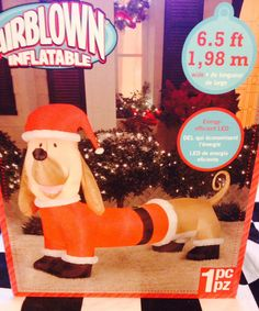 6.5' NEW SANTA SUIT DACHSHUND DOXIE WIENER DOG Christmas Airblown Inflatable