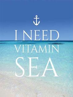 I Need Vitamin Sea Print Nautical Inspirational by AskPrintables