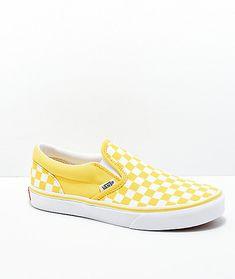 7f1af40e8b1 Vans Slip-On Aspen Gold   White Checkered Skate Shoes