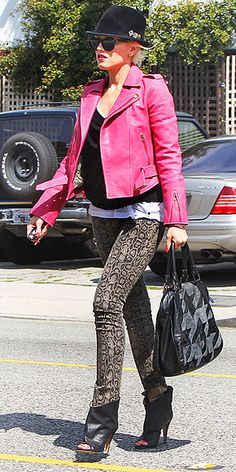 The singer taps into her animal instinct in Studio City, Calif., wearing second-skin David Kahn jeans Gwen Stefani
