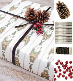 Wrapping Paper This is the fun part and the foundation for the gift wrapping process! Look for fun holiday inspired pieces. Choose colors that go with your theme, so that your ribbons and pieces will coordinate.
