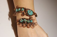 Turquoise bracelet-copper bracelet- copper wire wrapped Bracelet-wire wrapped jewelry handmade-copper jewelry-valentine's day gift. $39.00, via Etsy.