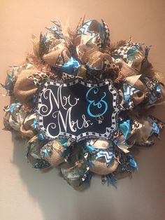 Custom Wedding or Engagement GIft - Mr. & Mrs. Chalkboard plus Burlap Wreath with Patterned Ribbon (Turquoise Glitter Chevron, Leopard, Etc.)! Visit the Facebook Page to Order Customized Wreaths and Chalkboards!!