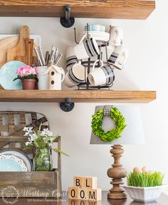 Simple spring touches on rustic farmhouse open shelves | Worthing Court Blog