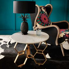 Hex Side Table With Marble Top - Side Tables - Tables - Furniture