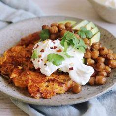 Sød kartoffel røsti Frisk, Chana Masala, Fudge, Quinoa, Chili, Dessert, Snacks, Chicken, Meat