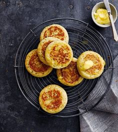 How to make crumpets | delicious. magazine How To Make Crumpets, Homemade Crumpets, Crumpet Recipe, Honey Butter, White Bread, Dry Yeast, Food Videos, Food Photography, Brunch