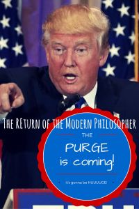 Should we all flee to Canada to escape life under President Trump? Or should we stay and enjoy eight years of The Purge? The Trump is out there, and I don't know how to react...