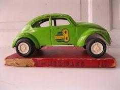 1960's Lime Green VW Bug Tonka from Tessiemay by tessiemay on Etsy, $27.00 Tonka Trucks, Tonka Toys, Slug, True Love, Vw, 1960s, I Shop, Lime, Metal