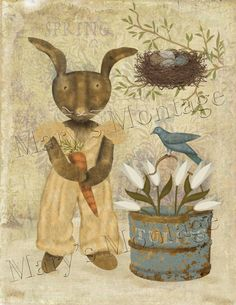 Art Download Print 8x10 FolkArt Spring bunny by MarysMontage