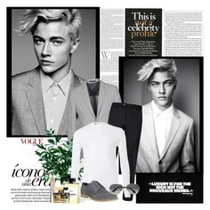 """""""Lucky blue smith"""" by bae01 ❤ liked on Polyvore featuring Emporio Armani, Ted Baker, Topman, Ask the Missus, Ray-Ban, Dolce&Gabbana, men's fashion and menswear"""