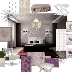 """Plums in all shades are """"big"""" this fall, add some to your rooms using grays as a background."""
