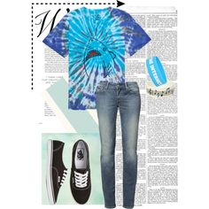 """OMG it's a shark!"" by kate-dep-dep on Polyvore #tomboy_style #tie_dye #sneakers #vans"