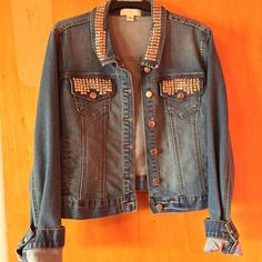 Stud Jean Jacket Super comfortable Jean Jacket, ALL STUDS ARE ATTACHED, no damage; used once; runs a size smaller Forever 21 Jackets & Coats Jean Jackets