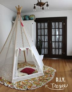 """Make your own Lace Teepee"" this would be so fun & is so pretty."