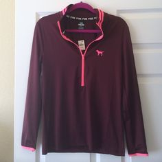 VS PINk ultimate zip BNWT maroon with pink accents. Light weight Victoria's Secret Tops Tees - Long Sleeve