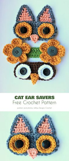 accessori per uncinetto Mask Mates Ear Savers Free Crochet Patterns Crochet Mask, Crochet Faces, Crochet Gifts, Cute Crochet, Knit Crochet, Crochet Owls, Crochet Food, Crochet Animals, Vintage Crochet