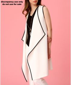 Ecru sleeveless waterfall jacket Sale - LARANOR Sale