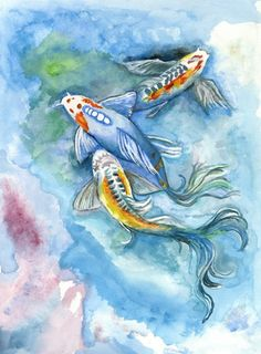 Koi Fish Watercolor Print  18 x 24 Archival Giclée by SusisMoon