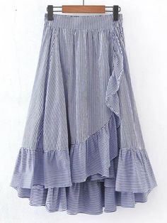 Falda con cintura elástica en línea A con ribete de volantes -Spanish SheIn(Sheinside)