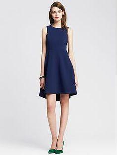 JODI'S LOOK: Blue Fit-and-Flare Dress | Banana Republic