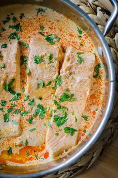 Poached Salmon in Curried Coconut Milk — Living Lou and Drink coconut milk Poached Salmon in Curried Coconut Milk Fish Dishes, Seafood Dishes, Seafood Recipes, Dinner Recipes, Cooking Recipes, Healthy Recipes, Scd Recipes, Paleo, Keto