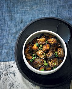 Miso-Roasted Eggplant.  Used this method with the miso dressing from the other pin.