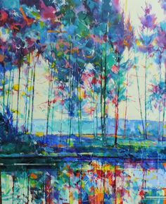 Meadowcliff Pond acrylic on canvas semi abstract painting 100 x 120cm Ref: 014-022