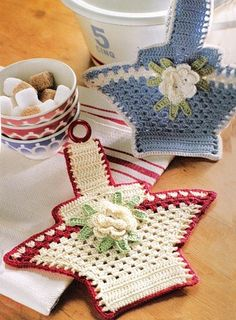 I have to make a board now with JUST crochet Im getting so many of them...these are too adorable to even use them!