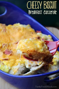 Cheesy Biscuit Breakfast Casserole with eggs, cheese, and bacon. All of your breakfast favorites in one!