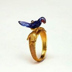 "11 Likes, 2 Comments - @treasuregarland on Instagram: ""Antique parrot ring, made of carved sapphire, likely in India, c.1850!! In the @vamuseum...…"""