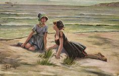 Bathing Beauties Girl AT SEA E Frank Vintage Artist Postcard   eBay