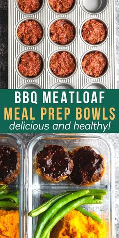 BBQ Meatloaf Meal Prep Bowls are an easy lunch idea that you are going to be so excited to eat! With cajun mashed sweet potatoes, steamed green beans and mini BBQ meatloaves. #sweetpeasandsaffron #mealprep #lunch #beef Bbq Meatloaf, Meatloaf Recipes, Beef Recipes, Best Lunch Recipes, Delicious Dinner Recipes, Healthy Recipes, Healthy Foods, Healthy Eating, Sweet Potato Bbq