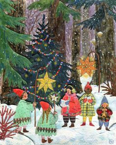 """""""Forest Carols"""" stunning watercolor, gouache, collage & colored pencil by the very talented artist, Phoebe Wahl. I love the beautiful rich, yet soft color palette. Noel Christmas, Christmas Images, Winter Christmas, Vintage Christmas, Xmas, Christmas Collage, Illustration Noel, Winter Illustration, Christmas Illustration"""