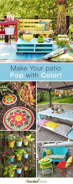 Make Your Patio Pop With Color By Adding A DIY Pallet Table Made By: Spray  Painting 2 Pallets + Stacking Them + (Optional) Nail Them Together And Add  Some ...