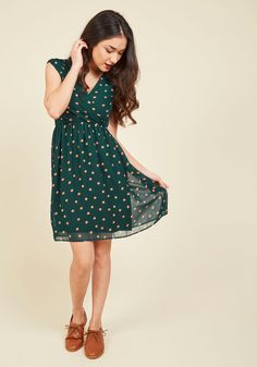 All She Wants to Do is Prance A-Line Dress in Pine. Slipping into this pine green dress is sure to put a skip in your step. #green #modcloth