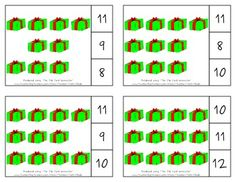 Christmas, Secular Count & Clip Cards *Common Core Aligned* Count & Clip Cards allow learners to practice counting. There are 12 clip cards. On each card is a set of pictures to count and a choice of three numerals. Learners count the pictures in the set and clip a clothespin to the numeral that corresponds with the number of pictures in the set.