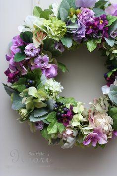 ミントと紫陽花のリース   artificial flower 20130716