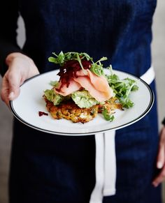 Pumpkin and Feta Fritters with Smoked Salmon from Bluestone Lane Cafe in NYC