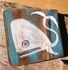 White Whale Rustic Folk Art outsider Art Painting By Annette Gambrel Ooak