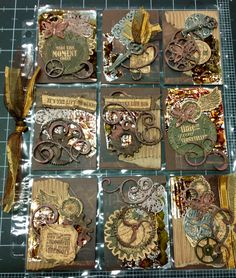 Steampunk pocket letters Steam punk Steampunk Crafts, Steampunk Design, Pocket Pal, Pocket Cards, Atc Cards, Journal Cards, Vintage Crafts, Vintage Paper, Project Life