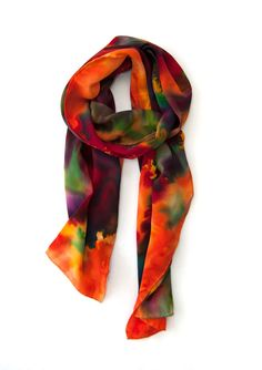 Hand Painted Silk Scarf Jenny2 One of a Kind by KateTWhitley