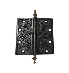 Antique Black Scroll Hinge 5 inches tall by 5 inches wide Decorative Hinges, Decorative Boxes, Pocket Door Pulls, Lock Set, Cupboard Knobs, Oriental Pattern, Antique Hardware, Antique Copper, Solid Brass